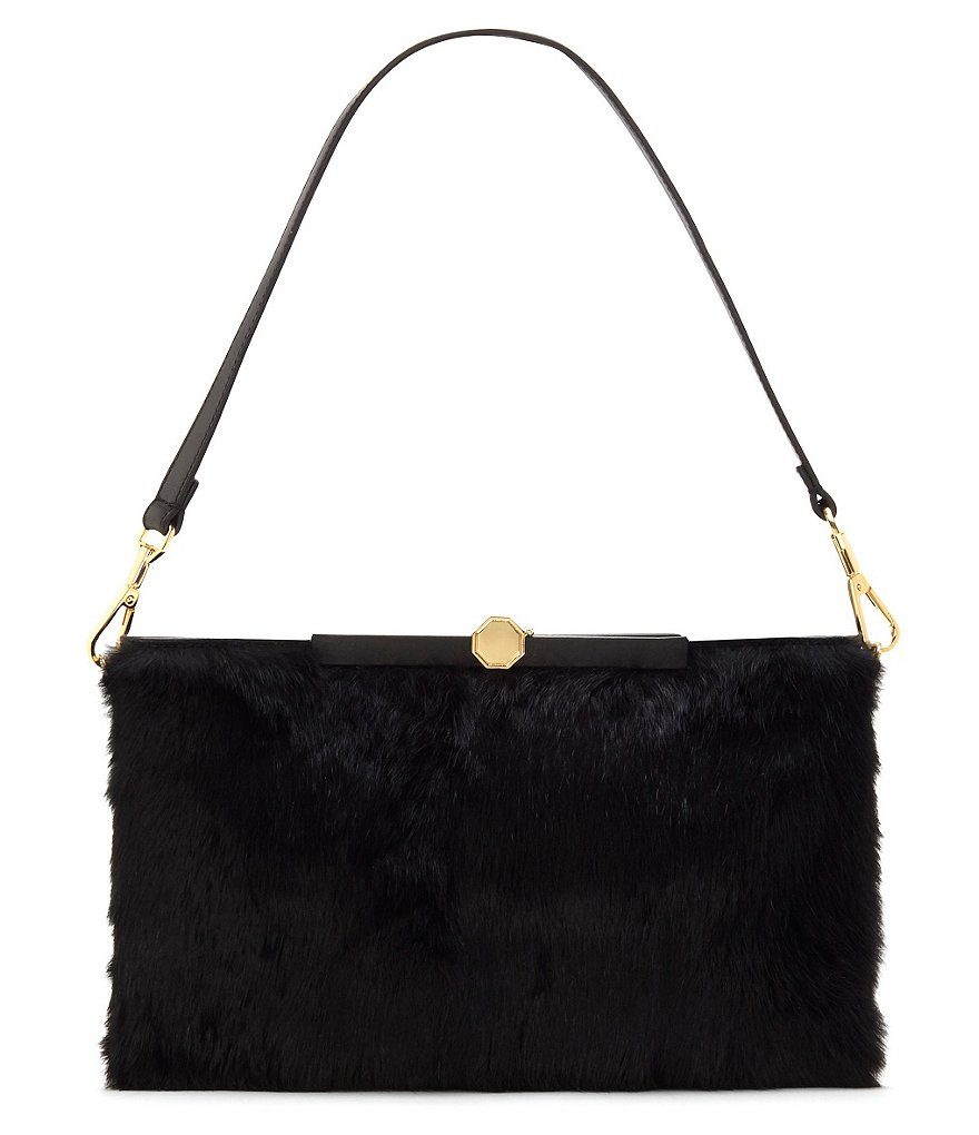 Louise et Cie Alis Leather & Rabbit Fur Clutch