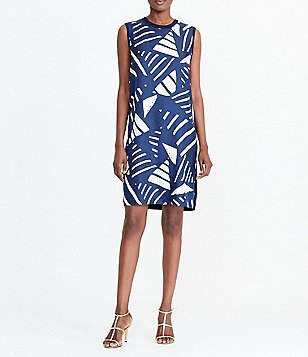 Lauren Ralph Lauren Petite Crew Neck Sleeveless Printed-Front Dress