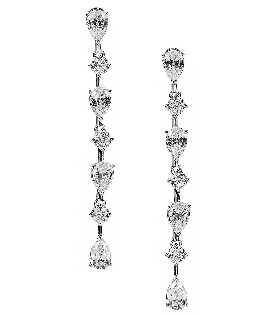 Nadri Diamond Dust Cubic Zirconia Linear Drop Earrings