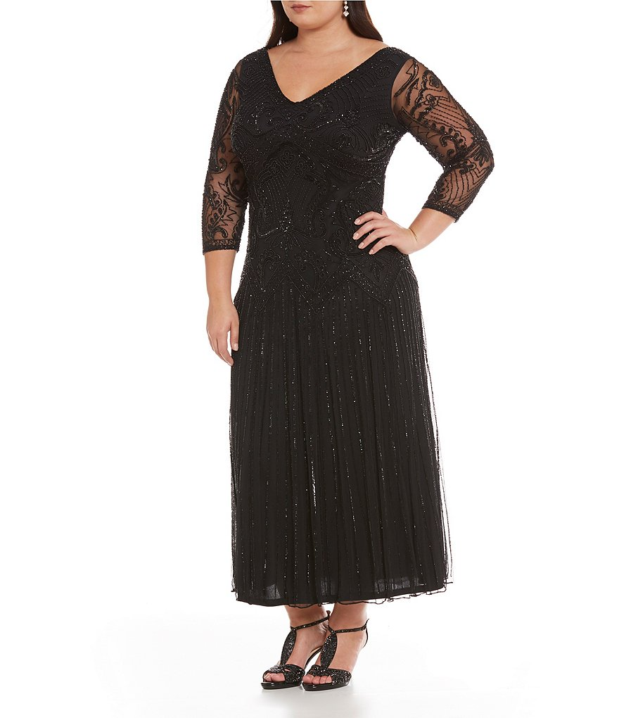 Pisarro Nights Plus V-Neck Beaded Gown