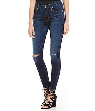 7 for All Mankind Ankle Skinny Knee Slit Jeans