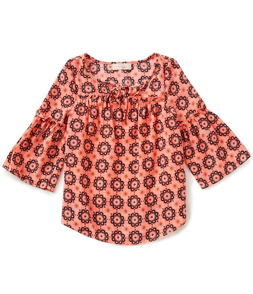 GB Girls Little Girls 4-6X Medallion Bell Sleeve Blouse