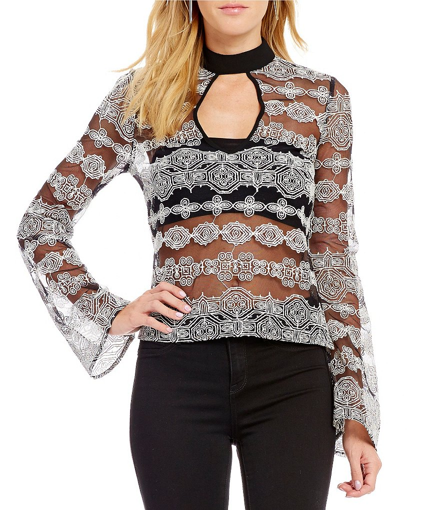 Band Of Gypsies Keyhole Mock Neck Geometric Embellished Mesh Top