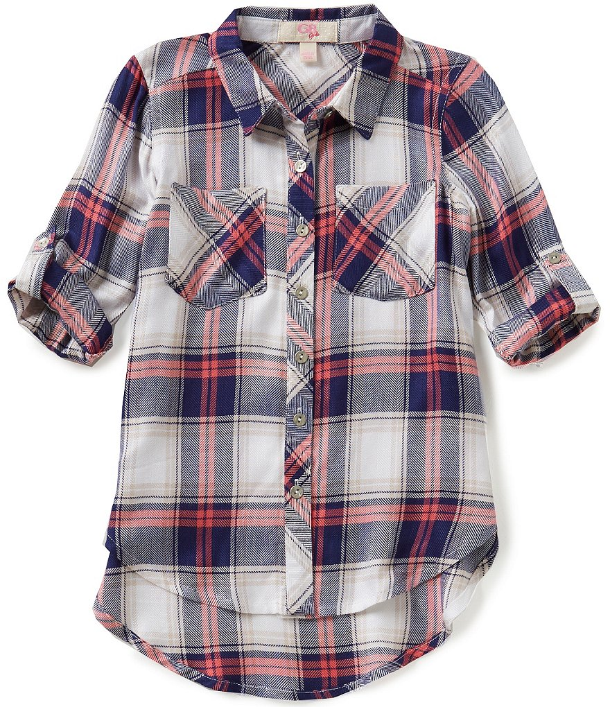 GB Girls Little Girls 4-6X Button Front Plaid Blouse