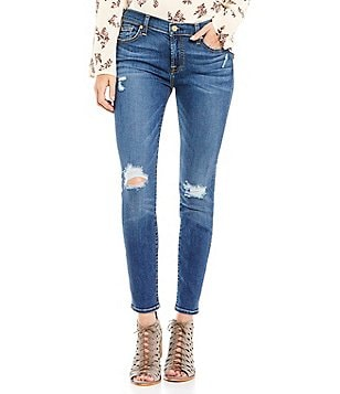 7 For All Mankind The Ankle Skinny with Destruction