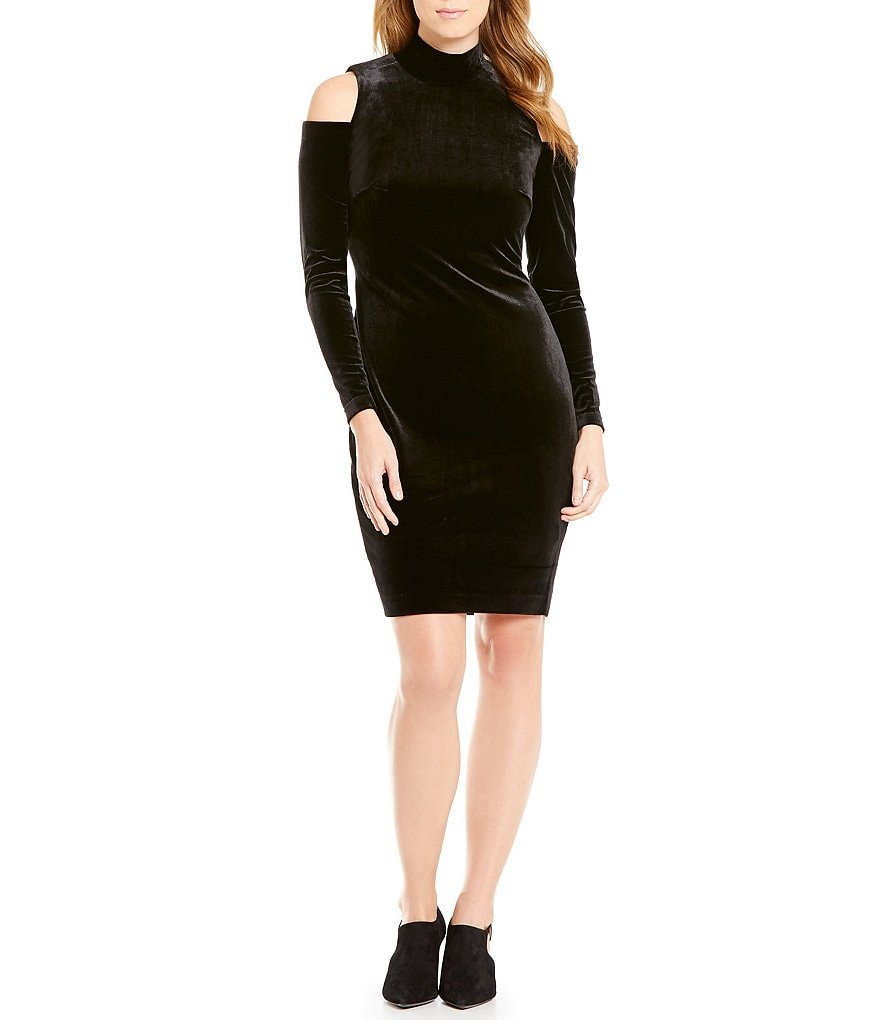 Calvin Klein Velvet Mock Neck Cold-Shoulder Sheath Dress