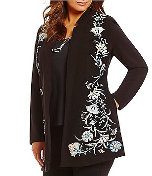 Peter Nygard Plus Crew Neck Open Front Embroidered Crepe Jacket