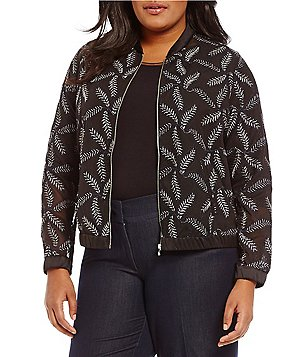 Peter Nygard Plus Embroidered Bomber Jacket