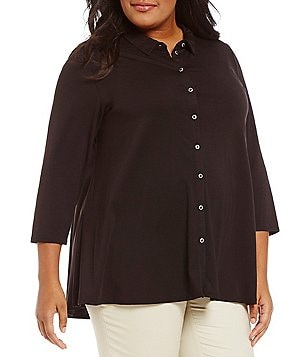Peter Nygard Plus Point Collar Button Front Tunic