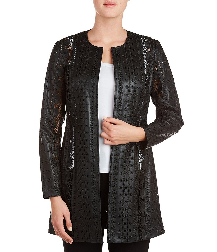 Peter Nygard Petite Crew Neck Faux-Leather Jacket