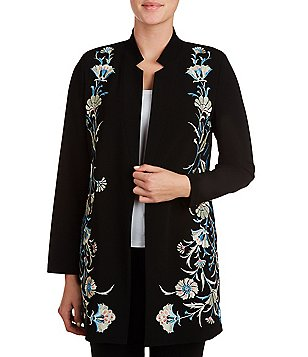 Peter Nygard Petite Crepe Embroidered Jacket