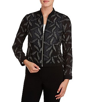 Peter Nygard Petite Embroidered Bomber Jacket