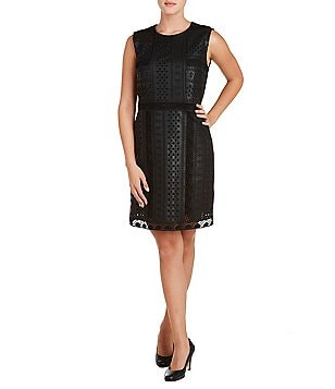 Peter Nygard Embroidered Faux-Leather Sleeveless Sheath Dress