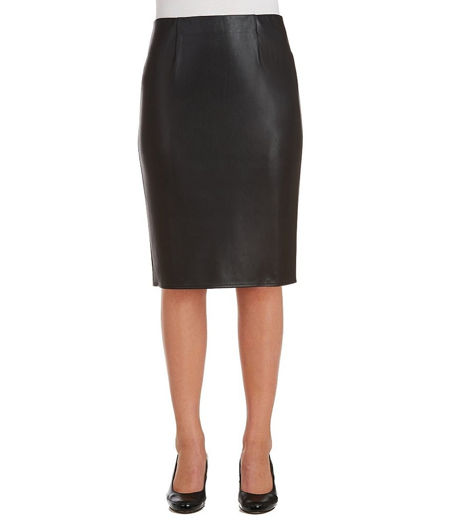 Peter Nygard Pull-On Faux-Leather Pencil Skirt