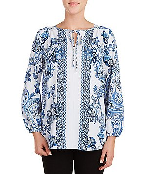 Peter Nygard Printed Crepe Georgette Tie Neck Peasant Blouse
