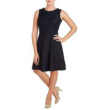 Peter Nygard Fit-and-Flare Sleeveless Denim Dress