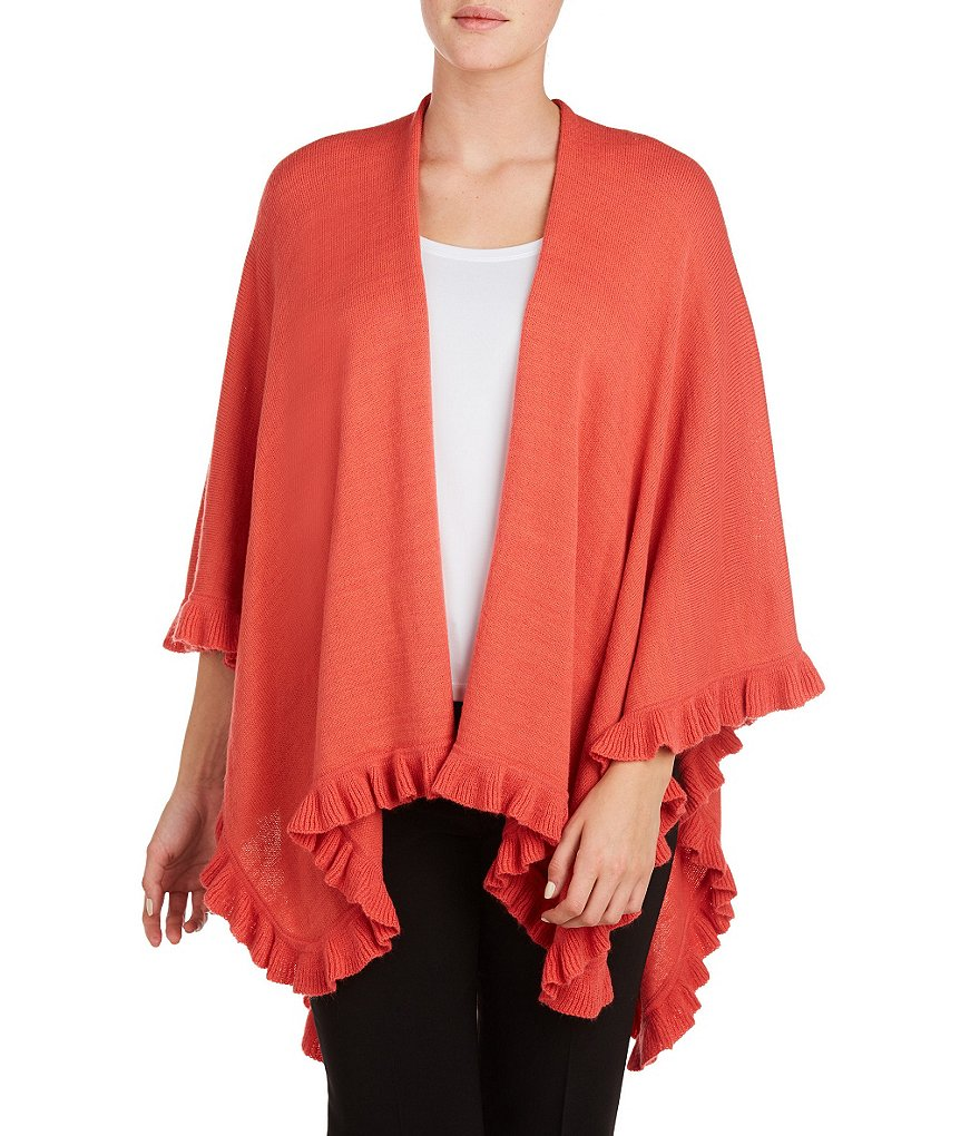 Peter Nygard Ruffle Hem Elbow-Sleeve Open Front Cape