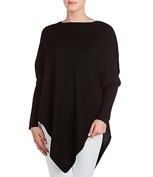 Peter Nygard Crew Neck Colorblock Asymmetrical Hem Poncho