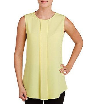 Peter Nygard Round Neck Sleeveless Pleat Front Solid Blouse