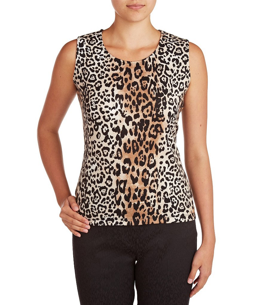 Allison Daley Petite Scoop-Neck Sleeveless Printed Knit Top