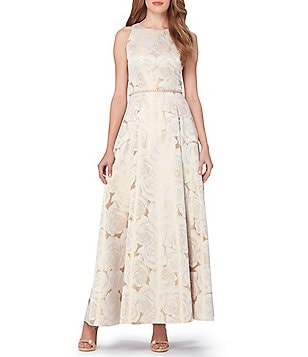 Tahari ASL Rose Gold Floral Printed Jacquard Ball Gown