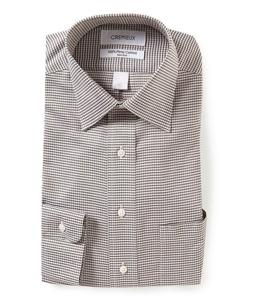 Cremieux Non-Iron Checked Classic Fitted Spread-Collar Dress Shirt