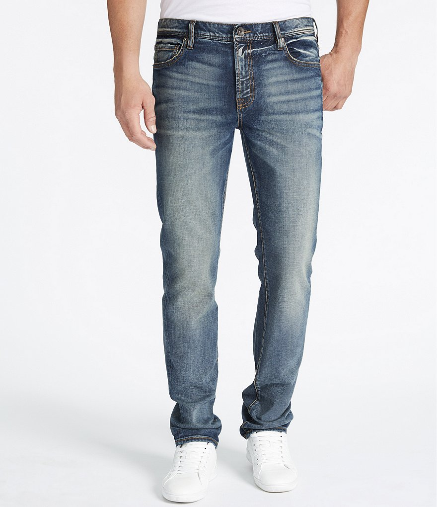 William Rast Dean Slim-Fit Straight-Leg 5-Pocket Whiskered and Faded Denim Jeans