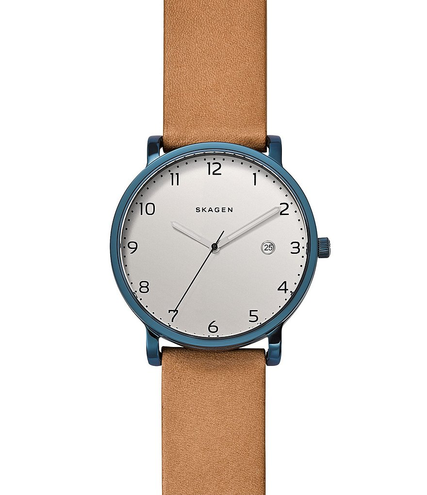 Skagen Hagen Analog & Date Leather-Strap Watch