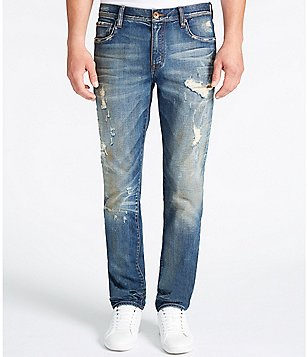 William Rast Hixson Straight-Fit Destructed Denim Jeans