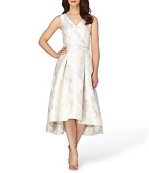 Tahari ASL Metallic Jacquard Fit & Flare Midi Dress