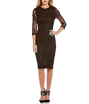 Jessica Simpson Scoop Neck 3/4 Sleeve Embellished Lace Midi Dress