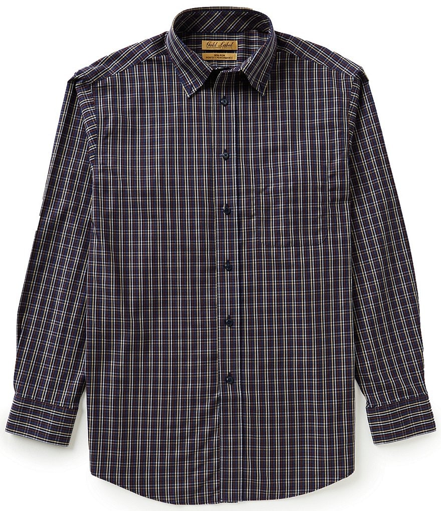 Gold Label Roundtree & Yorke Big & Tall Non-Iron Long-Sleeve Multi Mini Check Sportshirt