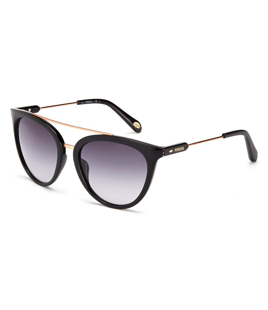Fossil Gradient Round Double-Bridge Sunglasses