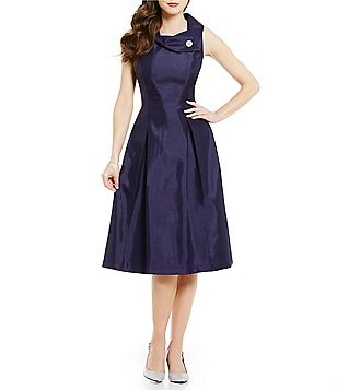 Tahari ASL Pearl Brooch Envelope Collar Sleeveless Solid Midi Dress