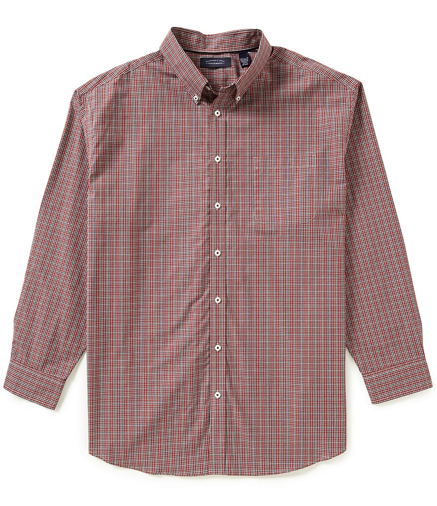 Roundtree & Yorke Trademark Big and Tall Long Sleeve Yarn Plaid Button-Down Collar Sportshirt