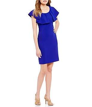 Tahari ASL Ruffle Shoulder Crepe Sheath Dress