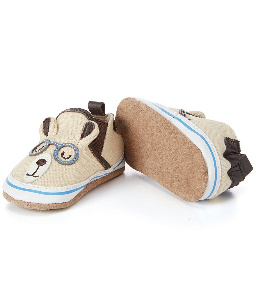 Robeez Baby Boys Brainy Bear Soft Sole Crib Shoes