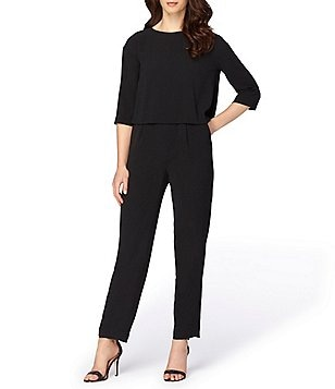 Tahari ASL Jewel Neck 3/4 Sleeve Pop-Over Solid Crepe Jumpsuit