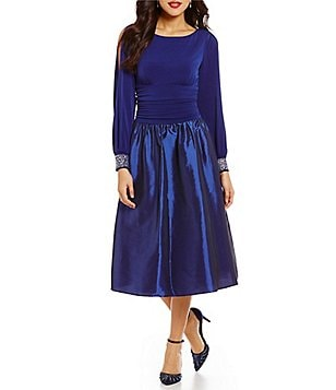 Jessica Howard Beaded-Cuff Long Sleeve Taffeta Party Dress
