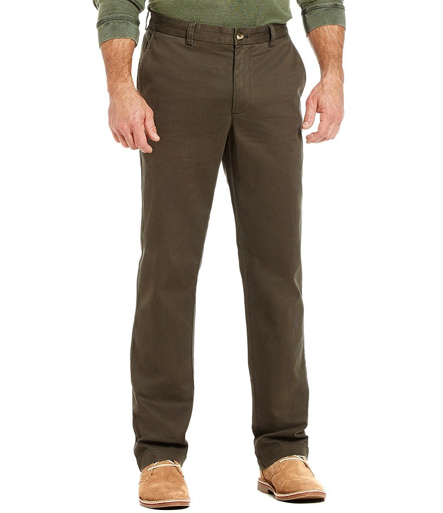 Roundtree & Yorke Casuals Flat Front Soft Washed Printed Chino Pants