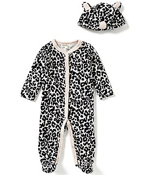 Jessica Simpson Baby Girls Newborn-9 Months Animal-Printed Footed Coverall and Hat Set