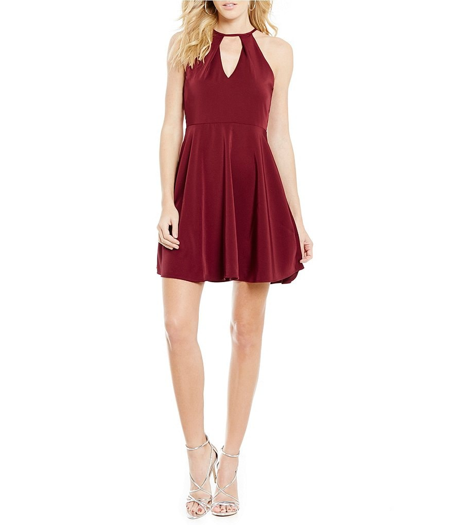J.O.A. Keyhole Halter Neck Sleeveless Fit-And-Flare Dress
