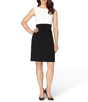 Tahari ASL Pearl Necklace Colorblocked Sleeveless Sheath Dress