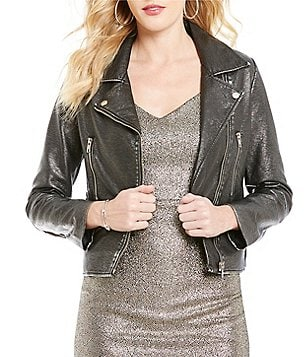 Skies Are Blue Point Collar Zip Front Faux Leather Moto Jacket