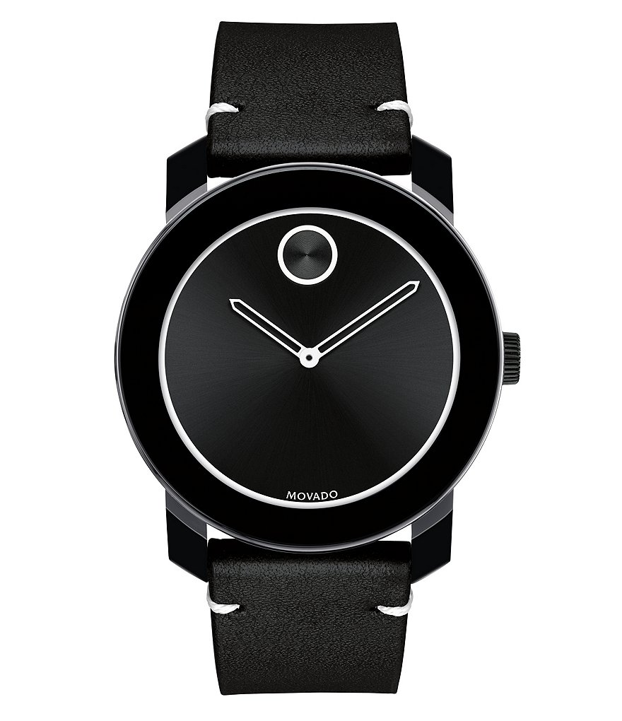 Movado Bold Analog Leather-Strap Watch