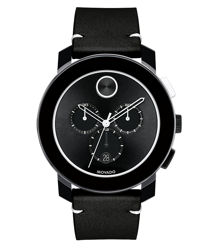 Movado Bold Chronograph & Date Leather-Strap Watch