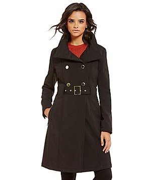 Guess Soft Shell Double Breasted Belted Trench Coat