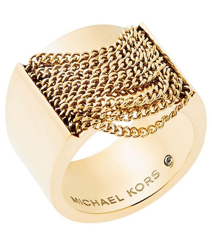 Michael Kors Draped Chain Barrel Ring