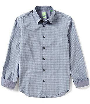 BOSS Green Bustai Dobby Check Long-Sleeve Woven Shirt