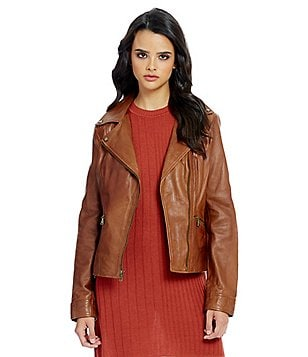 Guess Asymmetrical Moto Genuine Leather Jacket
